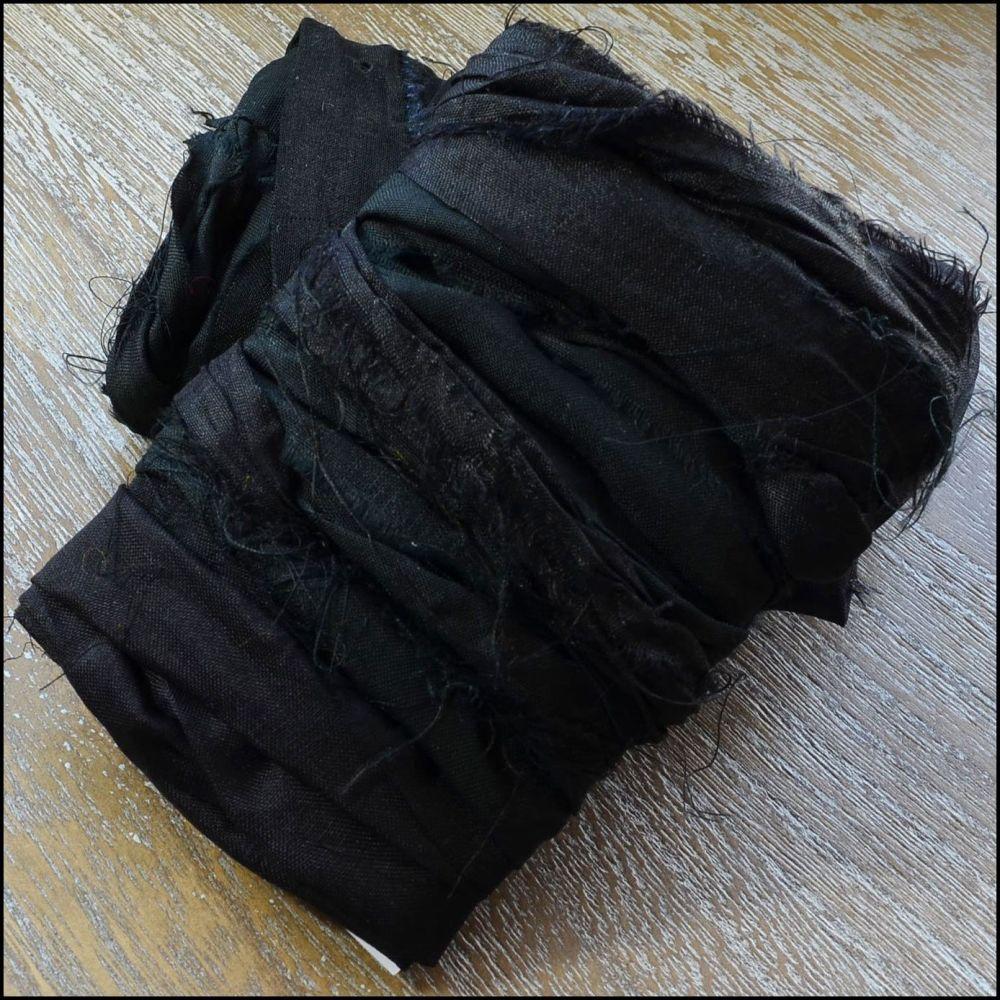 Black Sari Silk Ribbon
