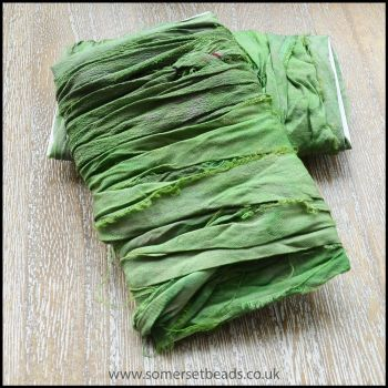 Lime Sari Silk Ribbon