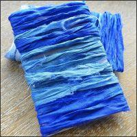 Ocean Blues Sari Silk Ribbon