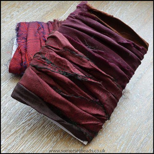 Oxblood Sari Silk Ribbon