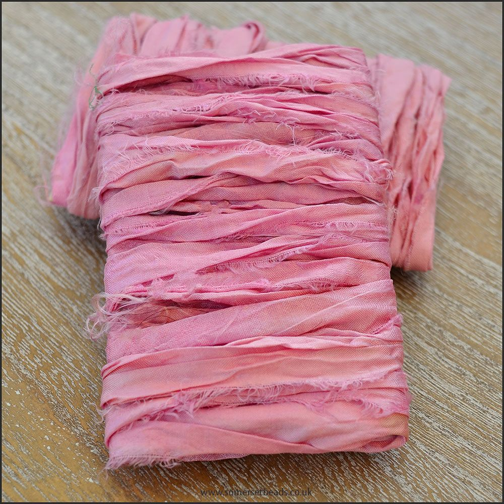 Pink Hand Dyed Sari Silk Ribbon