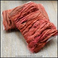 Pomegranate Sari Silk Ribbon