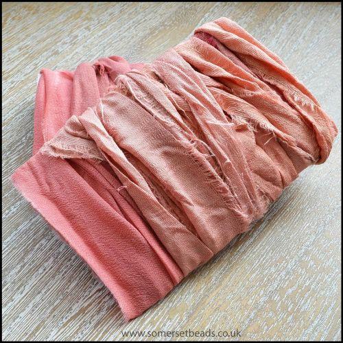 Salmon Pink Sari Silk Ribbon