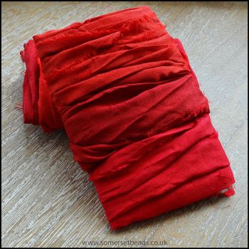 Scarlet Sari Silk Ribbon