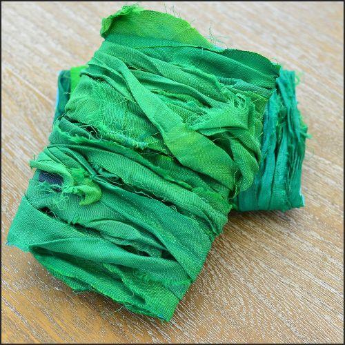 Spring Green Hand Dyed Sari Silk Ribbon