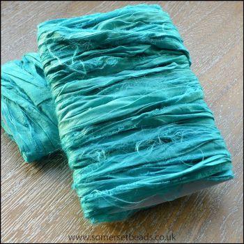 Turquoise Sari Silk Ribbon