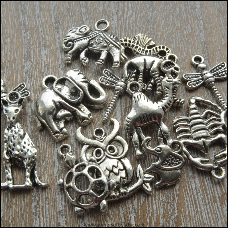 20 Mixed Silver Tone Animal Charms