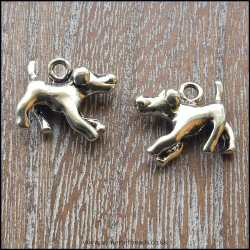 Silver Tone 3D Metal Dog Charms