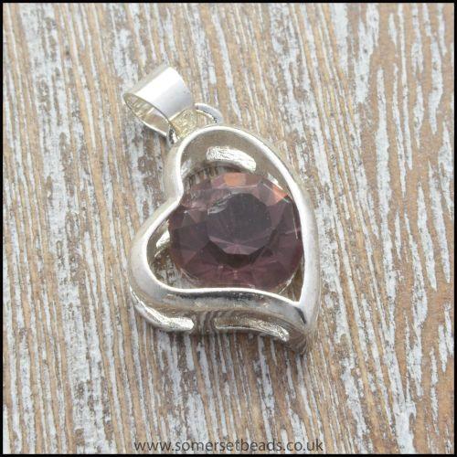Amethyst Rhinestone Silver Heart Shaped Pendant.