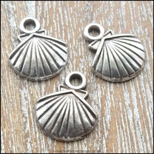 Antique Silver Tibetan Style Sea Shell Charms