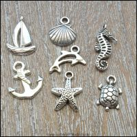 Antique Silver Tibetan Style Seaside Charms