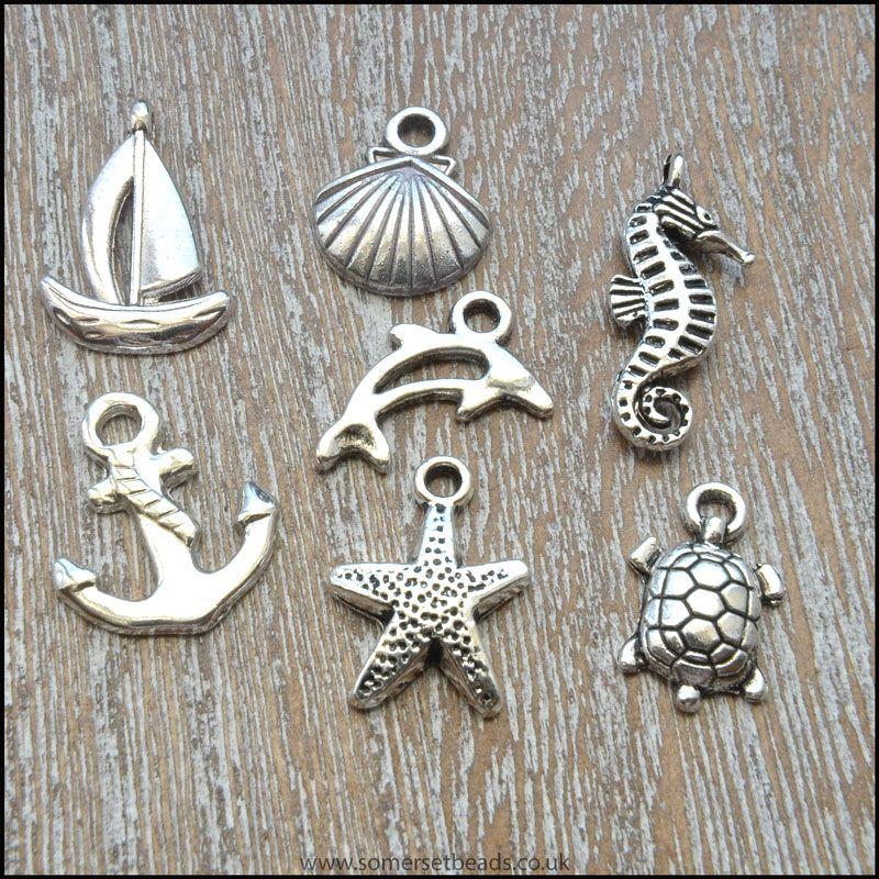 Antique Silver Tibetan Style Seaside Charms