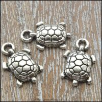 Antique Silver Tibetan Style Turtle Charms