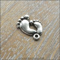 Antique Silver Tone Baby Feet Charms