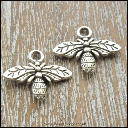 Antique Silver Tone Bee Charms