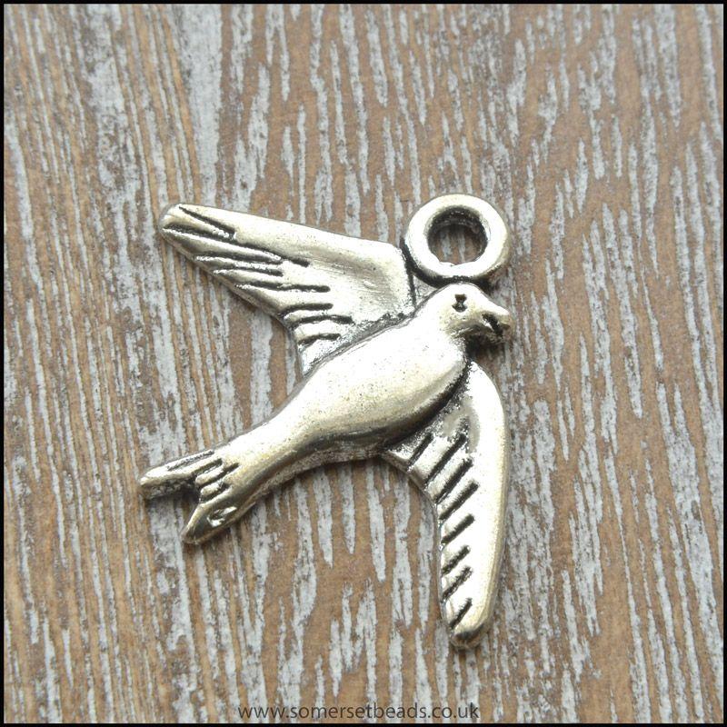 Antique Silver Tone Bird Charm