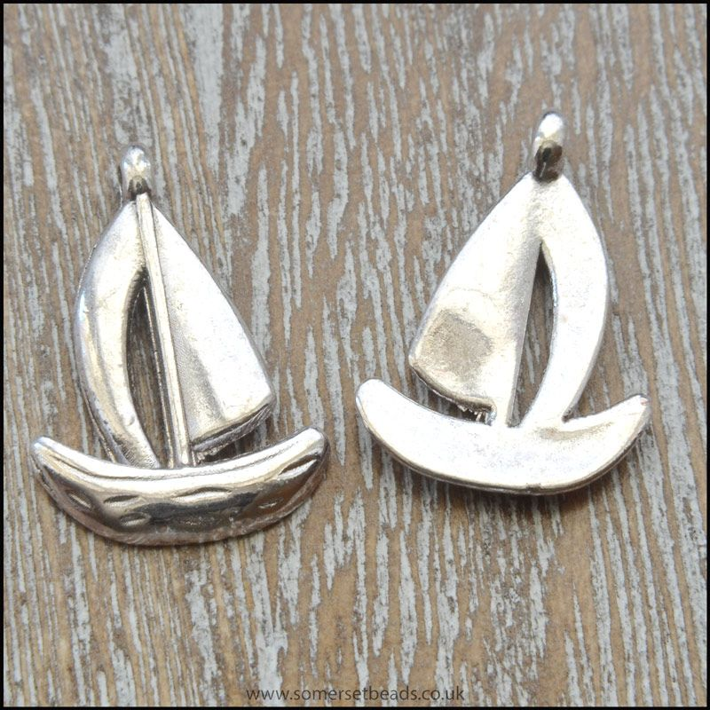 Antique Tibetan Silver Style Sail Boat Charms