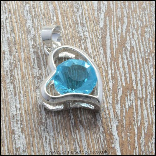 Aqua Rhinestone Heart Shaped Pendant