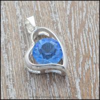 Blue Rhinestone Heart Shaped Pendant