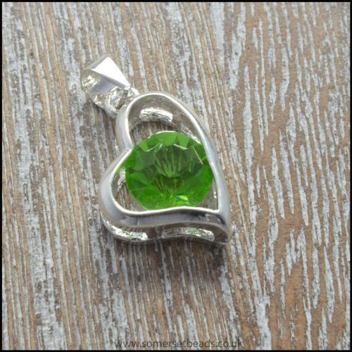 Peridot Rhinestone Heart Shaped Pendant