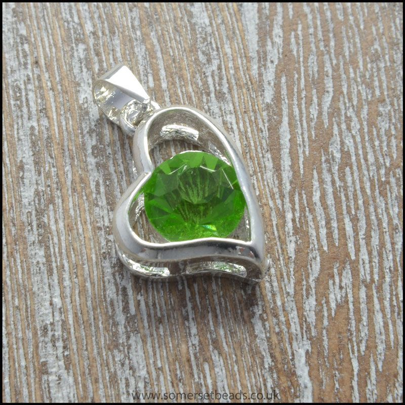 Peridot Rhinestone Heart Shaped Pendant
