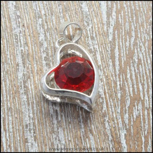 Red Rhinestone Silver Tone Heart Shaped Pendant