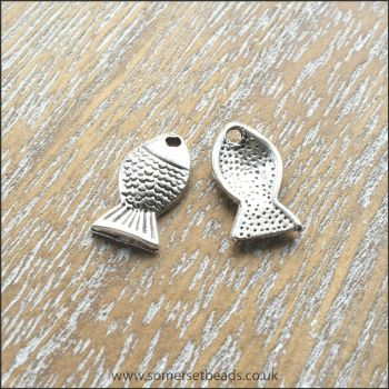 Silver Fish Charms - Pack of 10