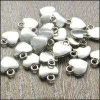 Silver Flat Heart Charms