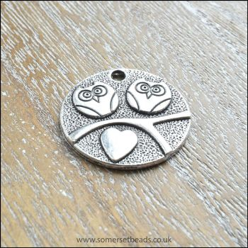 Silver Flat Round Owl Charms