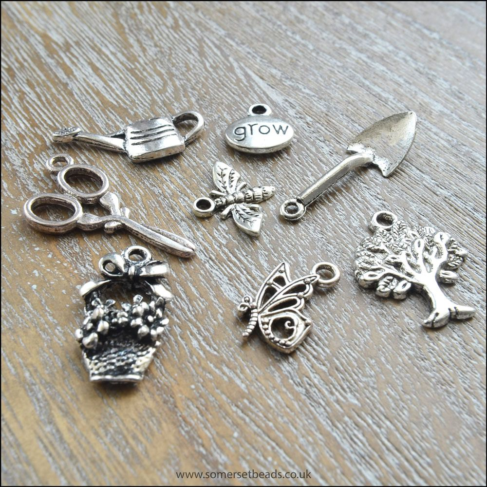 Silver Gardening Charms