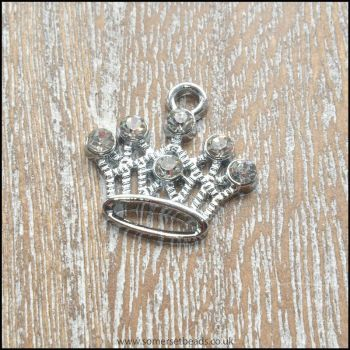 Silver Plated Rhinestone Crown Charm