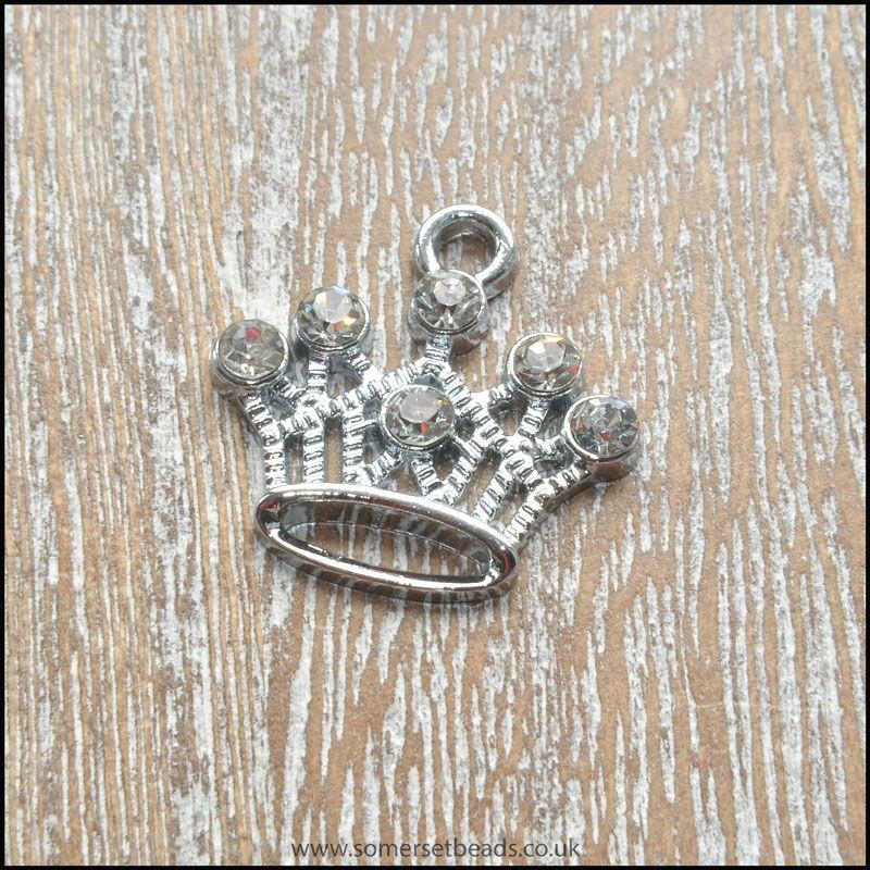 Silver Plated Rhinestone Crown Charm