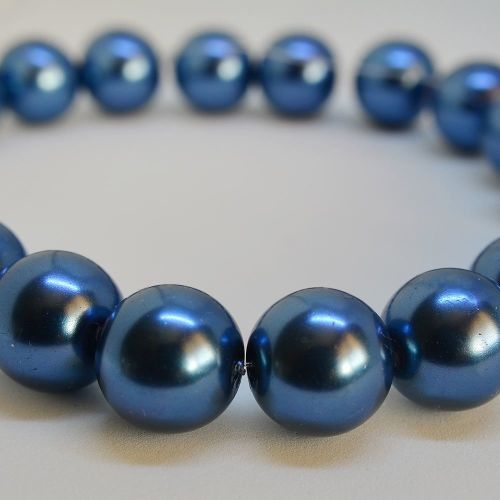 12mm Glass Pearl Round Beads - Blue