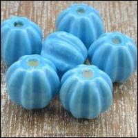 <!-- 006 -->13mm Blue Ceramic Pumpkin Beads