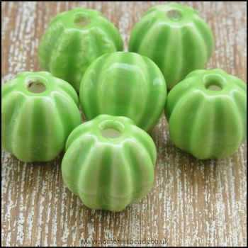 13mm Green Ceramic Pumpkin Beads
