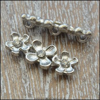 Silver Rhinestone Flower Spacer Bar / Divider