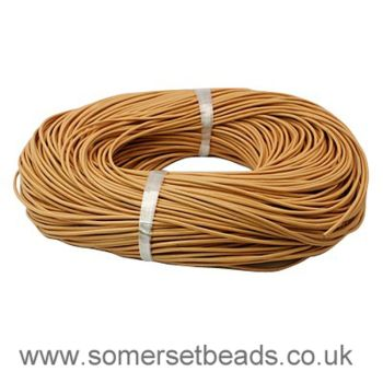 2mm Round Leather Cord - Sand