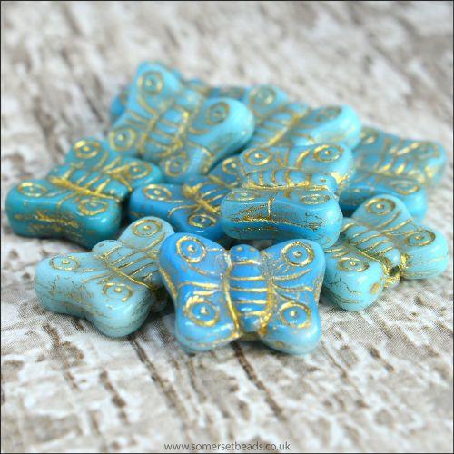 Czech Glass Butterfly Beads - Blue Mix