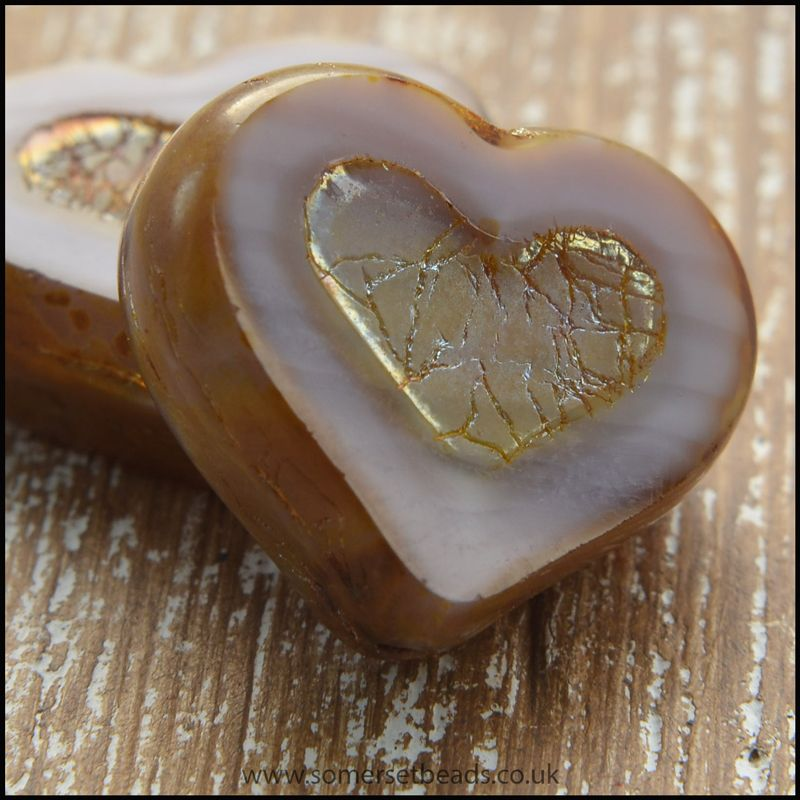 Czech Glass Heart Beads