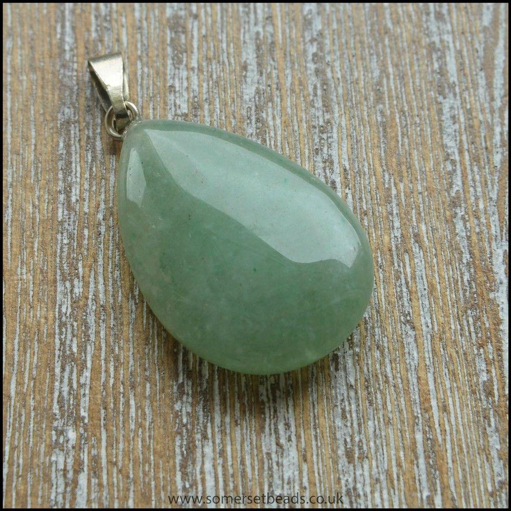 Green Aventurine Teardrop Semi Precious Gemstone Pendant