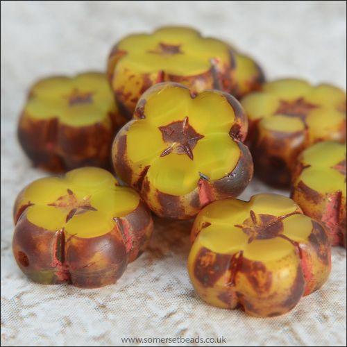 Czech Glass Table Cut Flower Beads 10mm Yellow