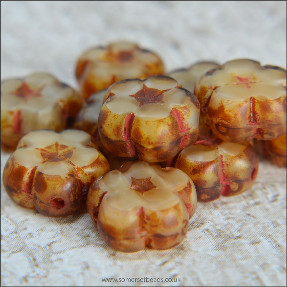 Czech Glass Table Cut Flower Beads 10mm Biscuit