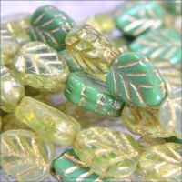 Czech Glass Pressed Leaf Beads 10mm x 8mm Green Mix
