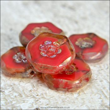 Czech Glass Red Marbled Flower Coin Beads 15mm