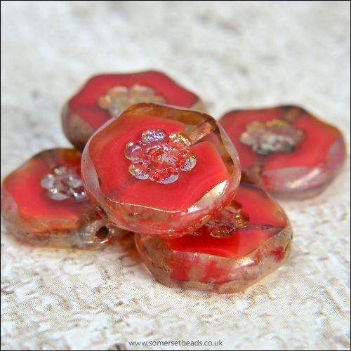 Czech Glass Red Marbled Flower Coin Beads 15mm