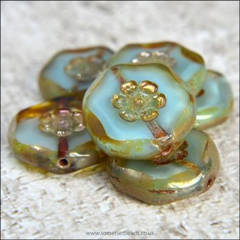 Czech Glass Aqua Marbled Flower Coin Beads 15mm