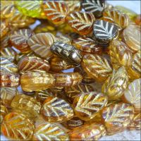 Czech Glass Pressed Leaf Beads 10mm x 8mm Brown Mix