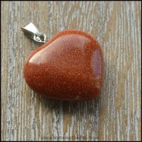 Brown Goldstone Semi Precious Heart Shaped Pendant
