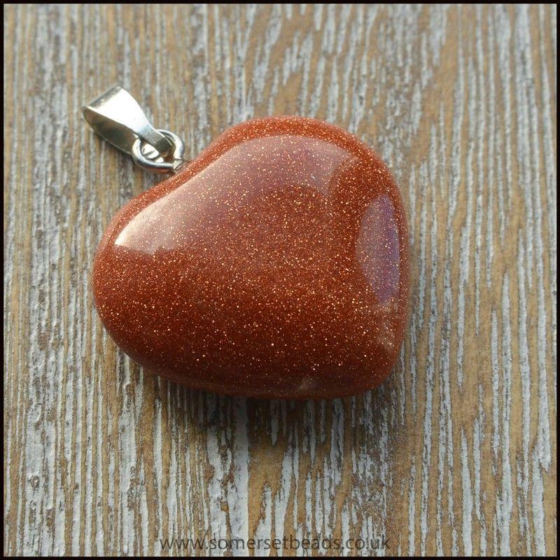 Brown Goldstone Semi Precious Heart Shaped Pendant