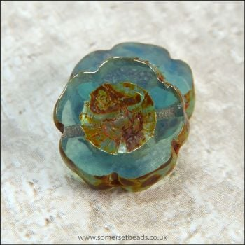 Czech Glass Table Cut Picasso Flower Beads - Aquamarine